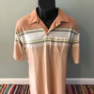 70s Stripe Polo Rugby Shirt Bowling Golf Orange XL